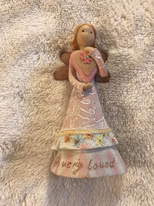 """So Very Loved Angel Figurine by Square One, 5 1/2"""" Tall, Gift for Mom, Sister"""