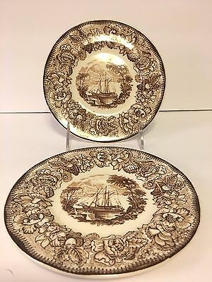 "Set/2 Royal Staffordshire A.H. Wilkinson Safe Harbour 6 3/8"" Plates England"