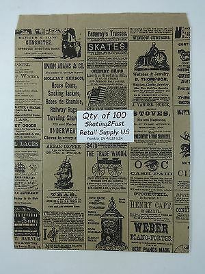 100 Qty. 8.5 X 11 Newsprint Design Paper Merchandise Bag Retail Shopping Bags