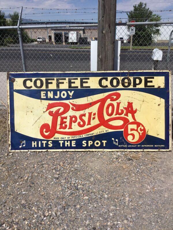 Rare! Vintage 1930s Embossed Pepsi Cola Advertising Sign. Coffee Coope Huge!