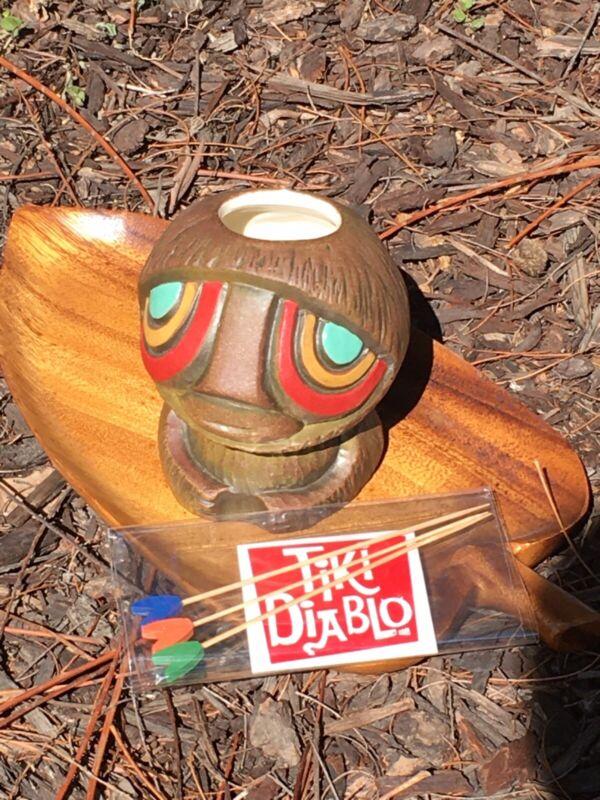 Tiki Diablo CoCo BiBí + Cocktail Picks Coco Bibi Coconut Limited Edition Mug USA