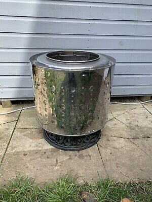 Upcycled washing machine drum fire pit 11kg Drum Extra Large With Cast Iron Base