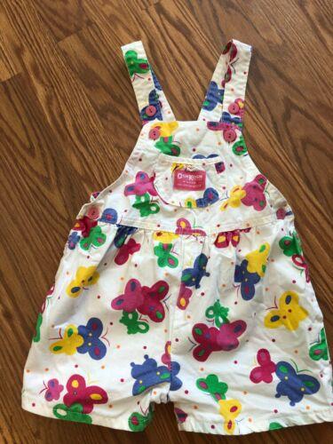 Vintage Oshkosh VESTBAK Toddler girls Overalls Shorts  Butterfly print 4T