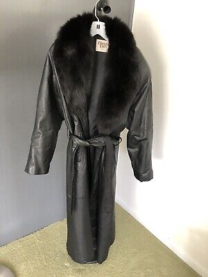 Shawl Collar w/Fox Fur Trim Maxi Black Leather Coat Glam Outerwear Sz XL Leather Coat With Fur Collar