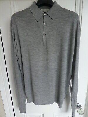 John Smedley Long Sleeved Polo Shirt - Silver Grey Medium.