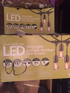 Bistro outdoor string LED lights, 4 boxes of 48 feet each