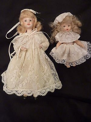 Lot of Two Vintage Porcelain Dolls ~In Lace Dresses ~