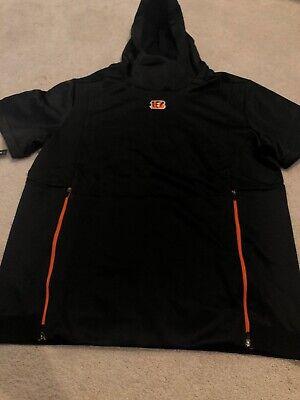 Nike Cincinnati Bengals NFL Football Short Sleeve Hooded Sweatshirt Size 2XL Black Nfl Hooded Sweatshirt
