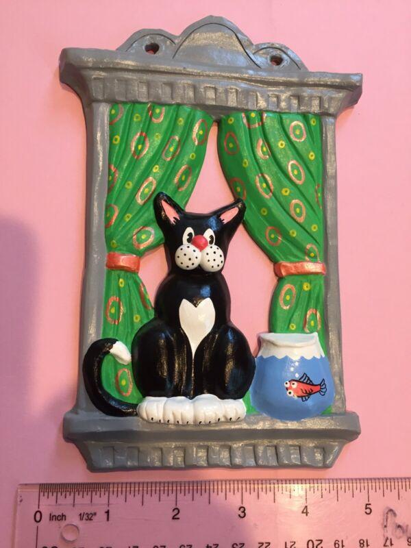Ceramic Kitsch Cat Wall Plaque