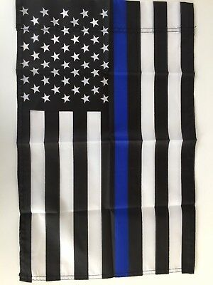 "12"" x 18"" Thin Blue Line American Garden Flag - Police - Small Yard Banner"
