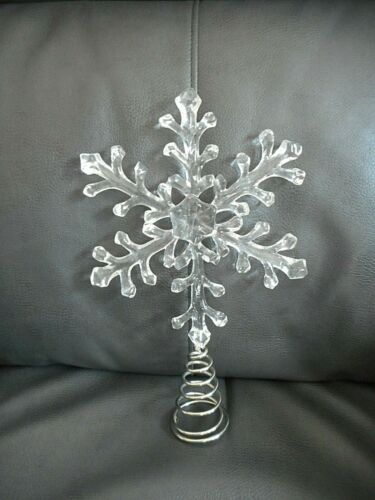 Christmas Tree Topper, Snowflake, Clear Acrylic