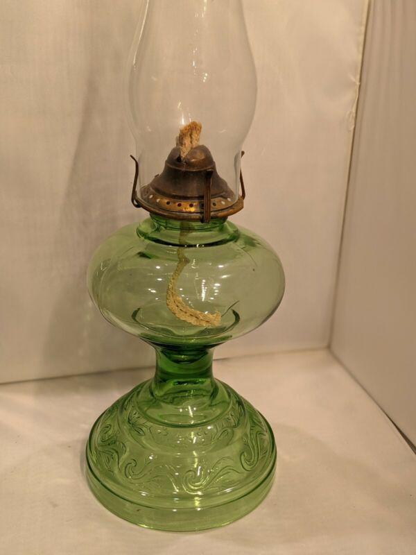 Rare Antique Green Depression Oil Lamp! Uranium Glass! Glows!