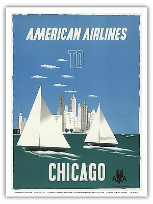 Chicago Illinois USA Windy City Vintage Airline Travel Art Poster Print  (Usa Windy City)