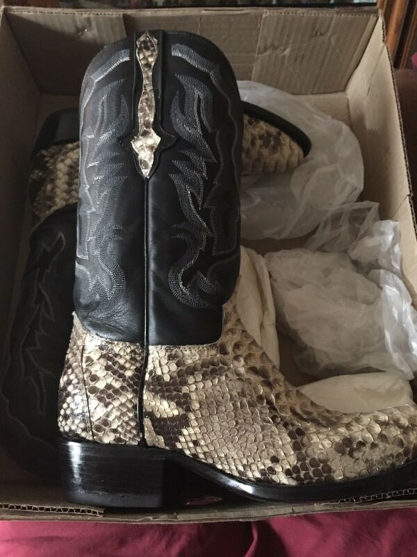 mens, real, python, snake, skin, genuine, leather, cowboy, boots, 9.5