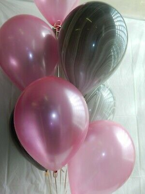 Pink Balloons, Black Marbled Balloons, Wedding Shower Decorations Birthday Party (Pink And Black Balloon Decorations)