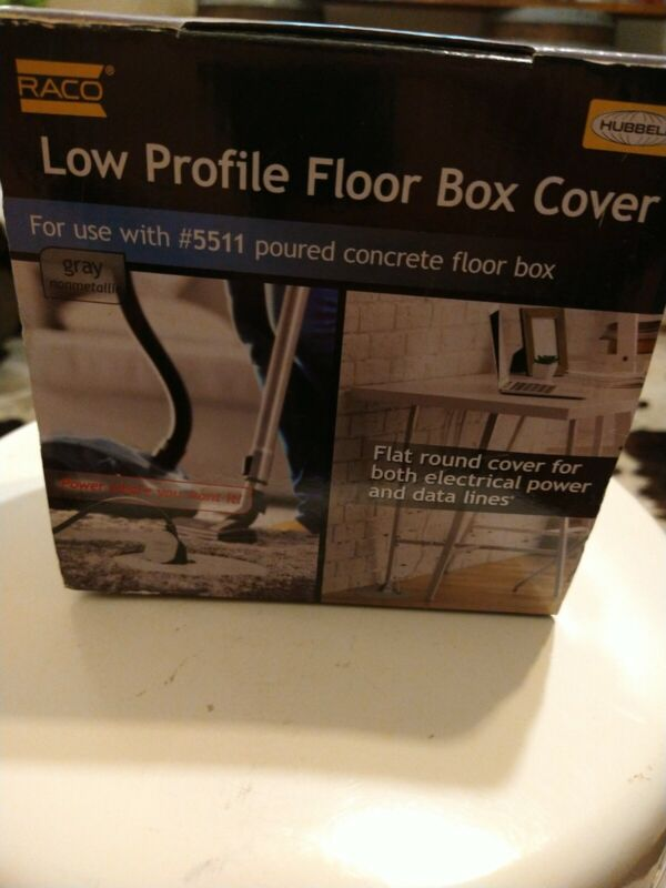 Hubbell RACO 6299 Round Floor Box Cover Kit Non-Metallic Two-Lift Lids, Gray