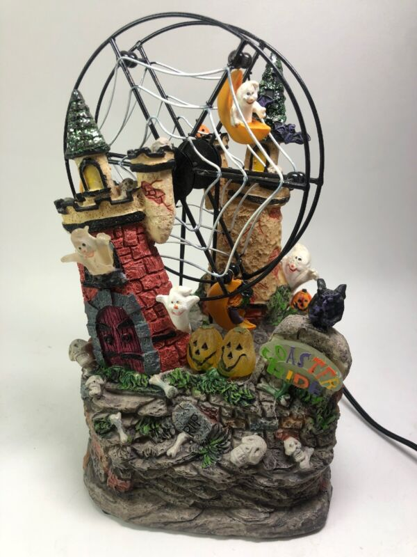 Halloween Village Town Haunted LED Ferris Wheel Roller Coaster Ride Spooky Light