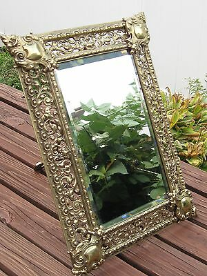 STUNNING - LARGE Antique Solid Brass Pierced Frame Beveled Mirror, 19th Century