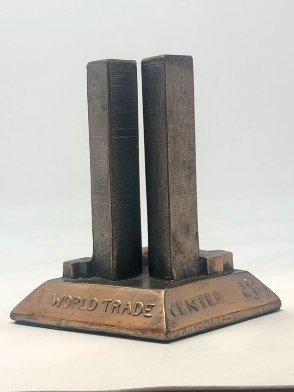 VINTAGE WORLD TRADE CENTER TWIN TOWERS BERRY METALS COPPER FINISH STATUE