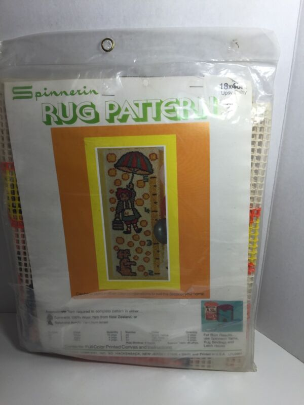 """Spinnerin Rug Pattern Upsy Daisy 18"""" X 48"""" Girl Dog Printed Canvas Only A375"""