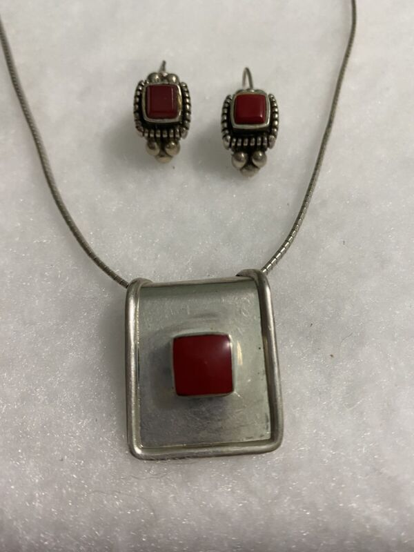 Vintage .925 Set w/ Necklace & Earrings with Red Stone Used