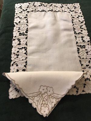 Vintage Madeira Ecru Linen Flower Embroidered + Cut-Out-18 Piecess