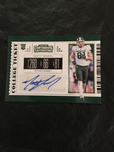 2019 Contenders DP Rookie Autograph 265 Matt Sokol Michigan State Spartans - $0.99