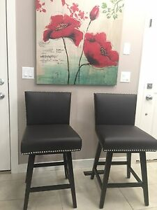 Brand new brown counter height leather bar stools