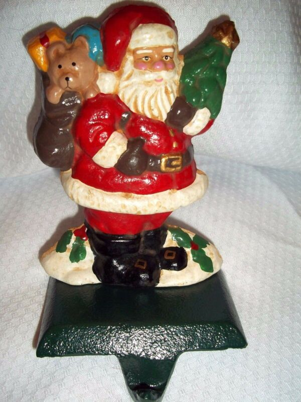 Vintage Solid Cast Iron SANTA CLAUS Christmas Stocking Hanger