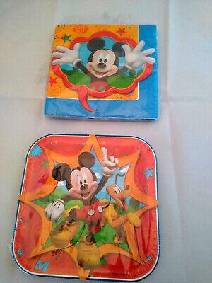 Disney Mickey Mouse Napkins 1 pkg(16 pieces)and Plates 1 pkg(8 pieces) NEW