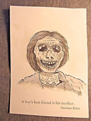 Norman Bates Quotes (Norman Bates quote PSYCHO ARTWORK 5 x 7 By Phil Born watercolor painting)