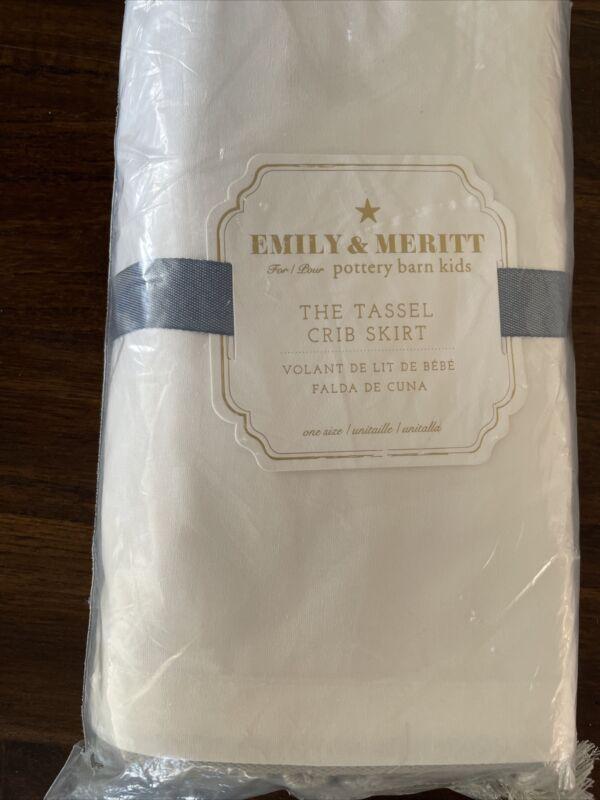 """Pottery Barn Kids Emily & Meritt Tassel Crib Skirt Silver 100% Cotton 16"""" NWT"""