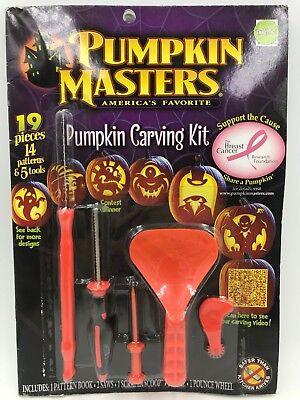 HALLOWEEN PUMPKIN MASTERS CARVING KIT 5 TOOLS  + 14 PATTERNS 19pc Total! - Pumpkin Patterns Carving Halloween