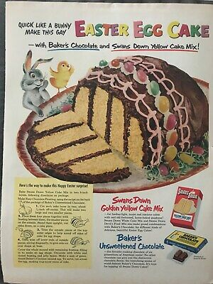 Swans Down Cake Mix~Easter Egg Cake Recipe~1952 Vintage Print AD A87