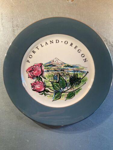 Vintage Souvenir Plate - Portland Oregon, Mount Hood, Rose City