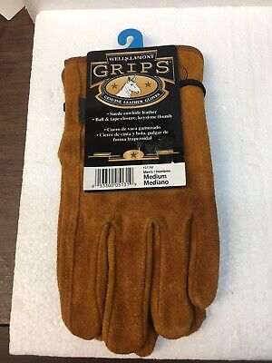 Wells Lamont Grips Work Gloves Size Medium Heavy Duty Cowhide New With Tags