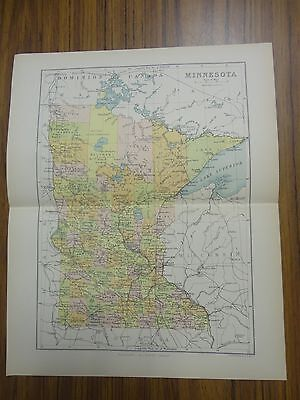 Nice color map of the State of Minnesota.  Printed 1891 by Chambers.