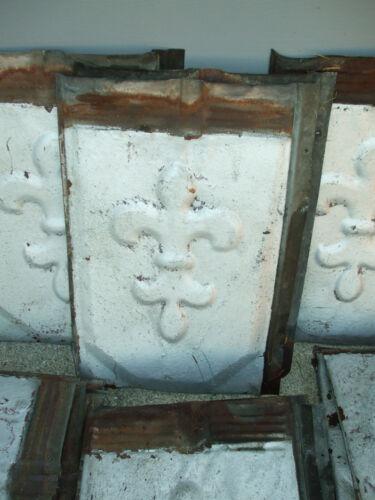 Vtg/Antique Fleur De Lis Tin Architectural Roof Shingle/Tile Embossed Backsplash