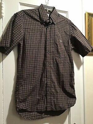 LACOSTE Button Down Shirt Mens Small/38 Brown Plaid Short Sleeve 100% Cotton EUC