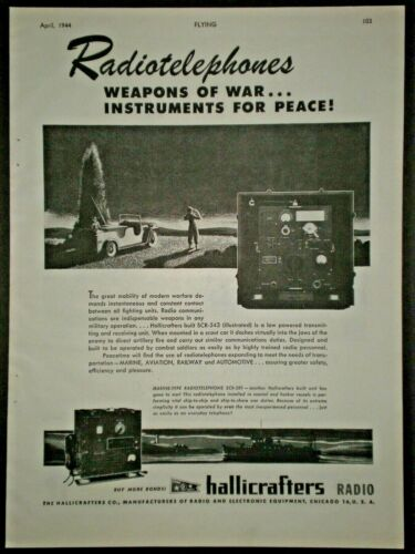1944 RADIOTELEPHONES SCR-543 & 381 HALLICRAFTERS RADIO WWII vtg Trade print ad
