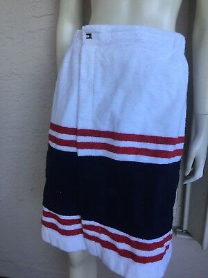 - TOMMY HILFIGER SPELL OUT COLOR-BLOCK TERRY CLOTH WRAP SKIRT