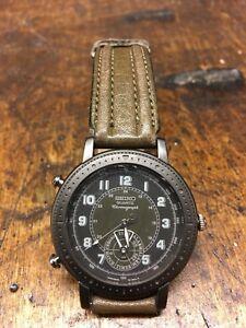 Mens vintage seiko 8m25 8010 military sports quartz watch with chronometer/alarm