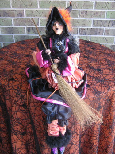 """RARE HORCHOW RETIRED HALLOWEEN WITCH DOLL 28"""" HAND-PAINTED FACE SHELF SITTER NWT"""