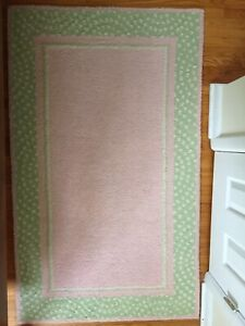 Pink and green 3X5 Pottery Barn Wool Rug.