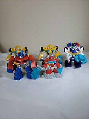 """Transformers Rescue Bots Toy PVC Bumblebee Chase 5pc Lot 3.5"""" Figures Hasbro"""