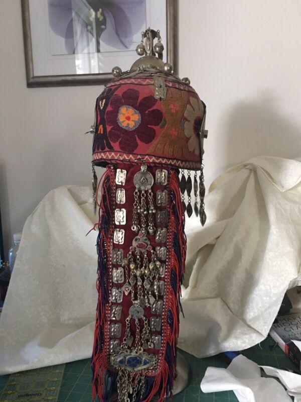 Vintage Afghan Turkmen Tribal Headdress For Weddings