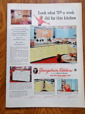 1956 Youngstown Steel Kitchens Ad Look What $5.95 a Week did for this Kitchen