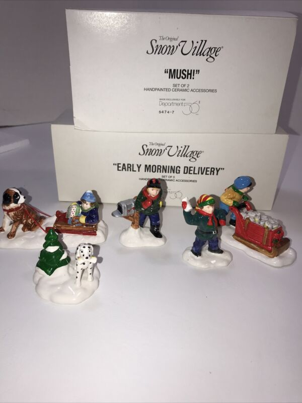 Dept. 56 Snow Village Accessory Lot 2   Kids Dogs Sled Paper Boy