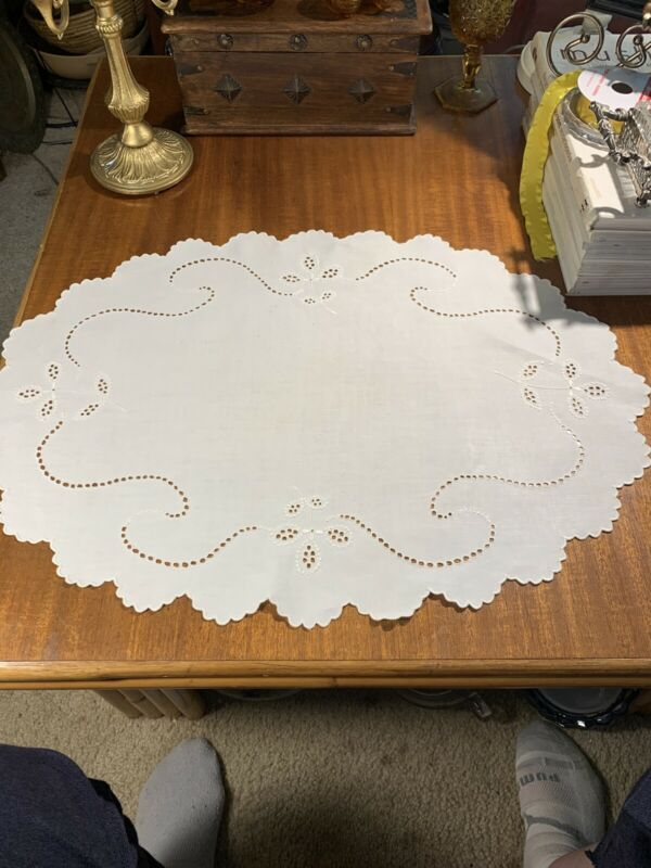 Antique Oval White Linen Centerpiece Hand Embroidered~French Knots~Scallops Wow