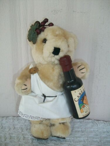 """Vintage Cabearnet Wine ~ Plush/Jointed Teddy Bear ~ Toga & Grapes ~ 8"""" Tall"""